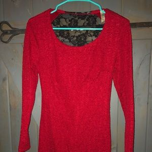 Dresses & Skirts - Red long sleeve dress with black lace back
